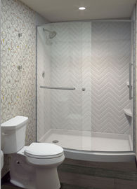 Light Texture Cultured Marble Shower Walls With Back Panels Scratch Resistent