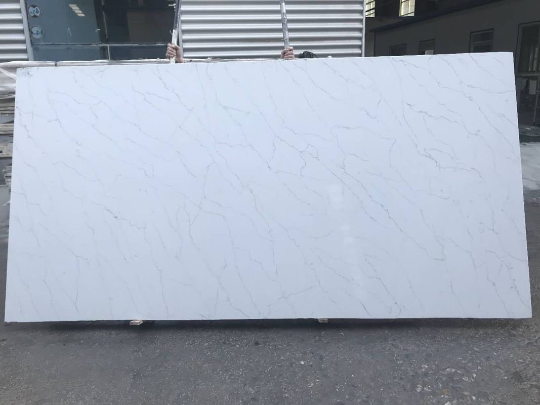 Light Grey Vein Calacatta Quartz Countertops Acid Resistant Polished ...